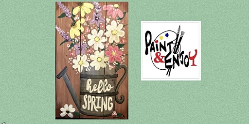 """Paint and Enjoy-Delta Pizza""""Hello  Spring"""" on Wood"""
