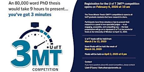 Watch the UofT Three-Minute-Thesis Semi-Finals tickets