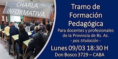 CHARLA INFORMATIVA - TRAMO DE FORMACIÓN PEDAGÓGICA entradas