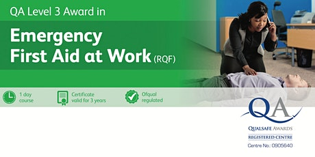 QA Level 3 Award in Emergency First Aid at Work tickets