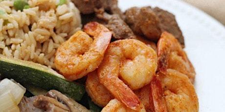 Hibachi Steak & Gulf Shrimp Cooking Demonstration entradas