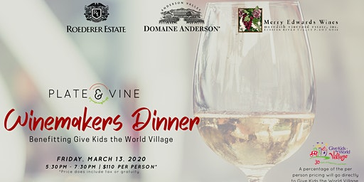 Plate & Vine Winemakers Dinner - Benefiting Give Kids the World Village