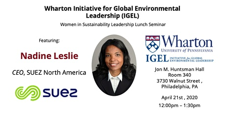 Women in Sustainability Leadership Lunch Seminar Featuring Nadine Leslie tickets