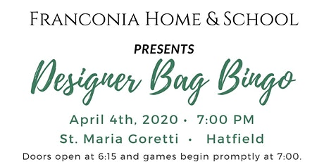 Franconia Home & School Designer Bag Bingo tickets