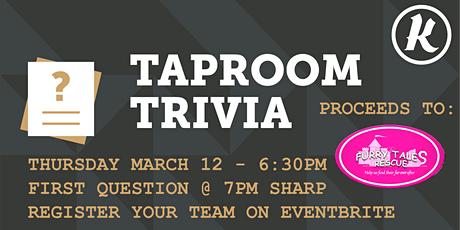 Kichesippi Taproom Trivia for Furry Tales Rescue! tickets