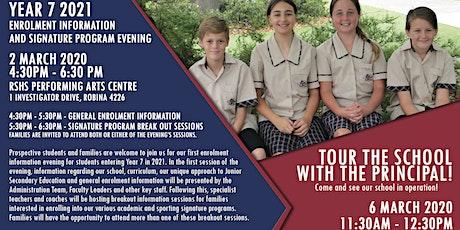 Robina SHS Enrolment Information & Signature Program Night tickets