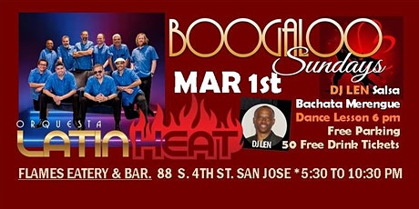 BOOGALOO MEGA SALSA PARTY AND DANCE EVENT w LATIN HEAT @ FLAMES tickets