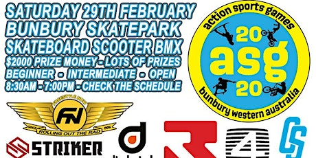 2020 BUNBURY ACTION SPORTS GAMES Skate, Scooter, BMX Competition tickets
