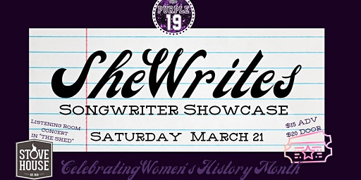 SheWrites Songwriter Showcase March 21, 2020 Women's History Month