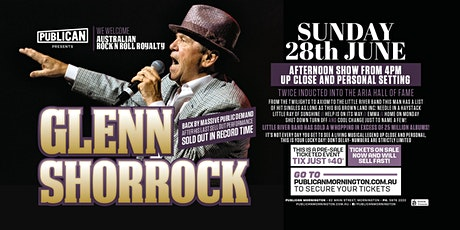 Glenn Shorrock Back by Popular demand and LIVE at Publican, Mornington! tickets