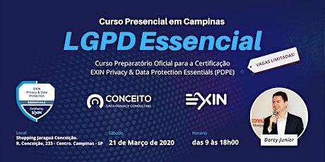 CURSO LGPD ESSENCIAL EM CAMPINAS - TURMA MARÇO/20 ingressos