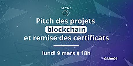 Pitch des projets blockchain et remise des certificats d'Alyra billets
