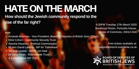 HATE ON THE MARCH: How should the Jewish community respond to the rise of the far right? tickets