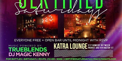 FREE Drinks + Everyone No Cover at Katra Certified Saturdays