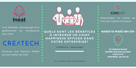 CONFERENCE - INTEGRER UN CHIEF HAPPINESS OFFICER : bénéfices et exemples billets