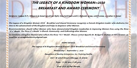 """""""THE LEGACY OF A KINGDOM WOMEN"""" Breakfast and Award Ceremony 2020 tickets"""