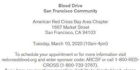 Red Cross-San Francisco Community Blood Drive-Tuesday, March 10, 2020 tickets