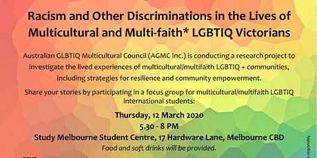 AGMC Focus Group LGBTIQ+ International Students tickets