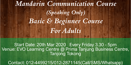 Mandarin Communication Course (Speaking Only) tickets