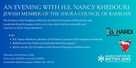 An Evening with H.E. Nancy Khedouri, from the Kingdom of Bahrain tickets