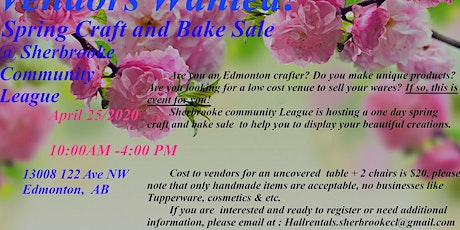 Vendor Call - Sherbrooke Spring Craft and Bake Sale tickets
