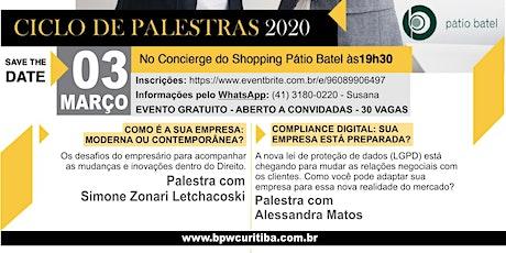 CICLO DE PALESTRAS - PÁTIO BATEL ingressos