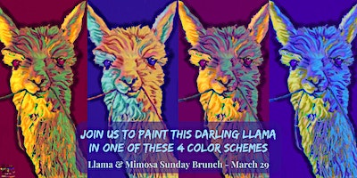 THIS PARTY HAS BEEN POSTPONED Llama & Mimosa Sunday Brunch Paint Party