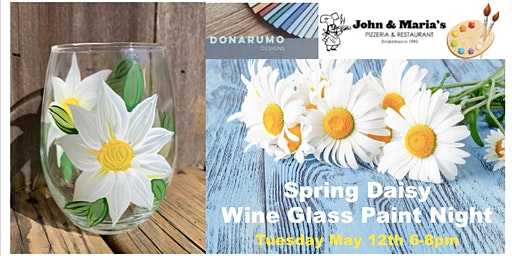 Spring Daisy Wine Glass Paint Night
