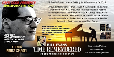 """Bill Evans Documentary """"Time Remembered"""" plus Spec tickets"""