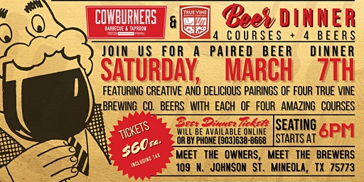 True Vine Four-Course Beer Dinner at CowBurners BBQ & Taproom