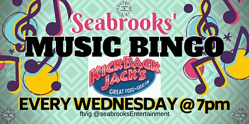SEABROOKS' MUSIC BINGO!GREAT MUSIC,FAMILY FUN!KICKBACK JACKS,MOORESVIILE,NC