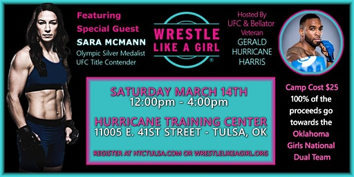 Sara McMann wrestling clinic benefiting girl's wrestling in Oklahoma