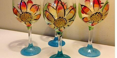 April 28th Mocha Lisa's Caffe' Not Your Average Paint-N-Sip Farmer Daisy Wine Glasses