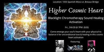 Higher Cosmic Heart Blacklight Chromotherapy Sound Activation
