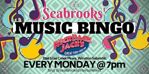 SEABROOKS' MUSIC BINGO!FREE!GREAT MUSIC,BEST PRIZES,KICKBACK JACKS WINSTON-SALEM