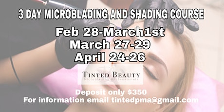 3 DAYS 3 BROW CERTIFICATIONS  (Microblading & Ombre) tickets