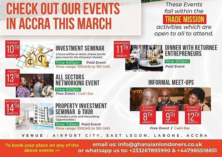Business &  Investment Events in Accra (7-14 March 2020) image
