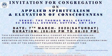 Discussions on Applied Spiritualism to Achieve Higher Consciousness  tickets