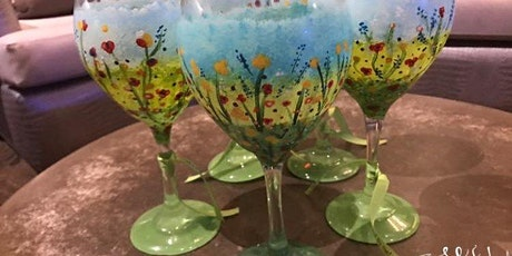 Enjoy the spring with floral painting on wine glass tickets