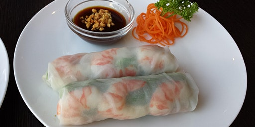 vietnamese pho ga and rice paper rolls