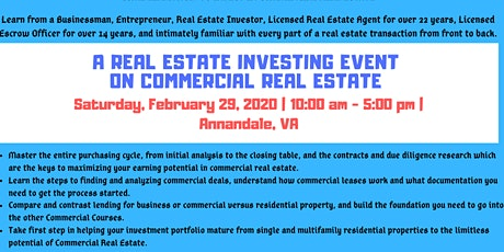 Real Estate Investing ~ Commercial Real Estate tickets