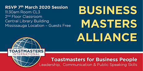 BUSINESS MASTERS ALLIANCE Public Speaking & Leadership Skills for Business tickets