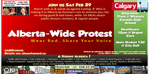 Protest Alberta Wide > YYC +Others Feb 29/ YEG Feb 29>Better Gov't/Budget