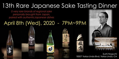 13th Rare Japanese Sake Tasting Dinner in OC! $100/person(plus tax & gratuity) tickets