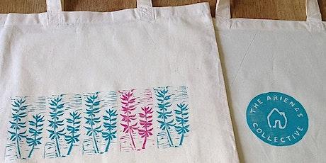 Lino printing onto fabric tickets