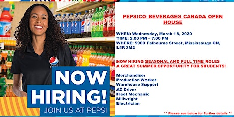 PepsiCo Beverages Canada Career Open House tickets