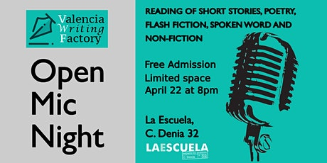 Valencia Writing Factory Open Mic April tickets