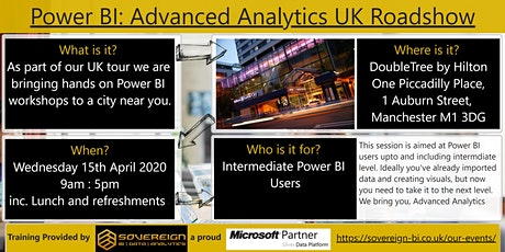 Power BI Advanced Analytics Hands on Workshop. UK Tour. Manchester, Greater Manchester. tickets