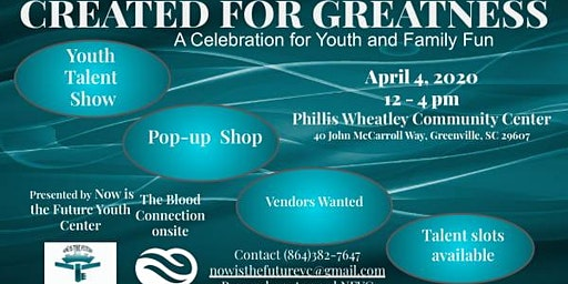 CREATED FOR GREATNESS A Celebration for Youth and Family Fun