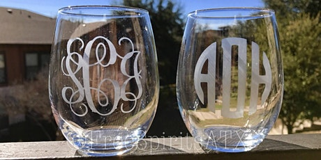 Wine glass etching with Paintings by Katie tickets
